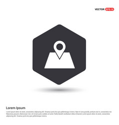 Map location icon hexa white background icon vector