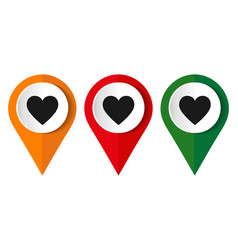 map pointer with a heart icon vector image
