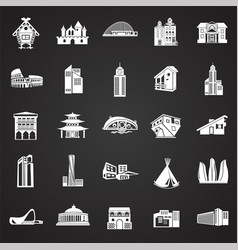 modern and old buildings set on black background vector image