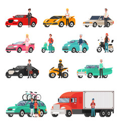 Modern cars and truck with drivers beside set vector