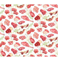 natural cutting pork parts seamless pattern vector image
