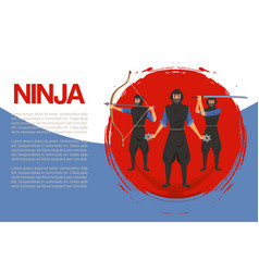 Ninja assassin movement and fighting skills vector