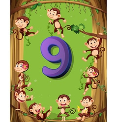 Number nine with 9 monkeys on the tree vector