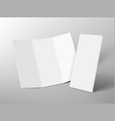 Open and closed trifold paper booklet with shadow vector