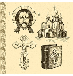 Orthodox symbols hand drawn vector