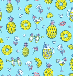 Pineapple mood pattern on blue background vector image