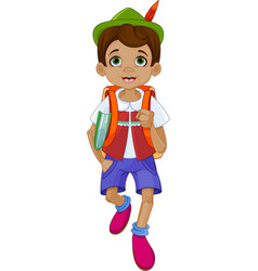 Pinocchio going to school vector