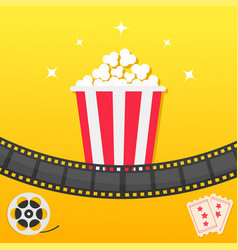 popcorn box film strip two tickets admit one vector image