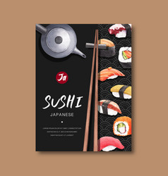 Poster for advertisement sushi restaurant vector