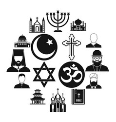 Religious symbol icons set simple style vector