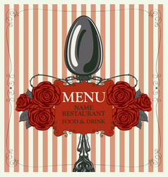 Restaurant menu with spoon and red roses vector