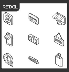 Retail outline isometric icons vector
