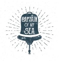 Retro ship bell tee design Vintage sea label vector image