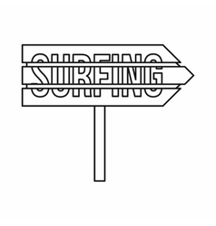 Road sign with word Surfing icon outline style vector image