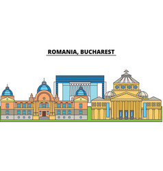 Romania bucharest city skyline architecture vector