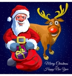 Santa Claus with gift bag and funny Christmas deer vector
