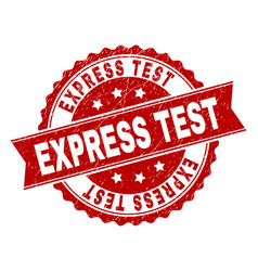 scratched textured express test stamp seal vector image