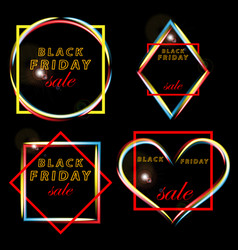 Set black friday sales frames of the various forms vector