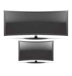 Set Frontal view of curved widescreen led or lcd vector