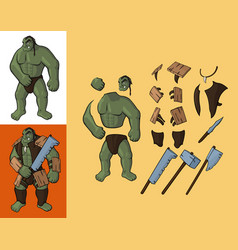 Set of orcs v1 strong orc and equipment vector