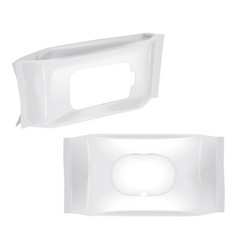 Set of white blank wet wipes packaging mock up vector