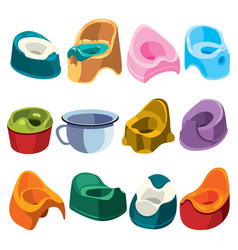 set toilets for children collection toilet vector image