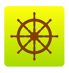Ship wheel sign brown icon at green vector
