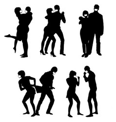 Silhouettes couple wearing mask vector