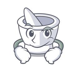 Smirking mortar character cartoon style vector
