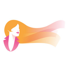 Stylized image elegant woman face with flowing vector