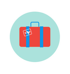 suitcase retro with plane sticker icon isolated vector image