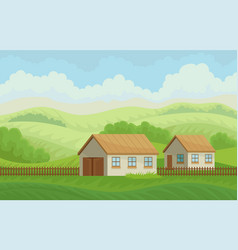 summer rural landscape with village houses and vector image
