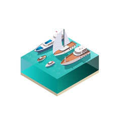 Water vessels isometric composition vector