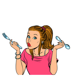 woman with fork and spoon vector image