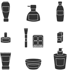 Women cosmetics isolated black icons vector image