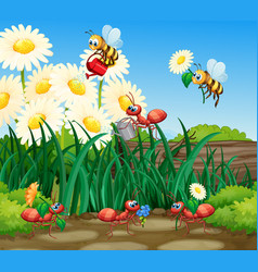 Working ant gardening plant vector