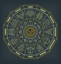 zodiac circle with horoscope signs thin line vector image