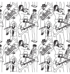 Group street musicians seamless monochrome pattern vector image