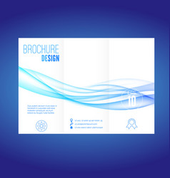 modern futuristic abstract blue wave brochure vector image