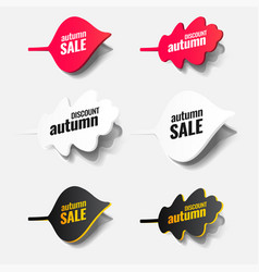 paper autumn leaves tags icons labels stickers vector image