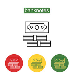 stack of cash line art perspective icon vector image