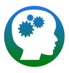 thinking head sign white icon in bluish vector image