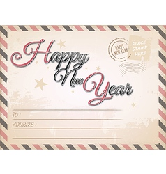Vintage Happy New year postcard vector image vector image