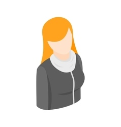 Woman with long red hair icon isometric 3d style vector image vector image