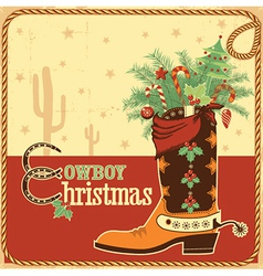 Cowboy christmas card with text and boot vector image vector image