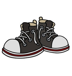 Funny black sneakers vector image