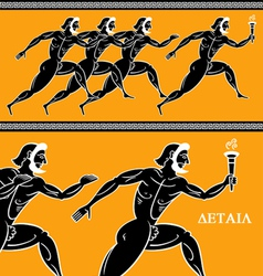 olympic runners vector image