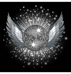 silver disco ball and stars vector image