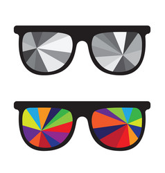 sunglasses black and white and multicolored vector image vector image