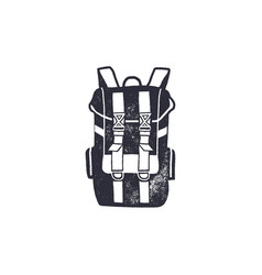vintage hand drawn backpack shape in monochrome vector image